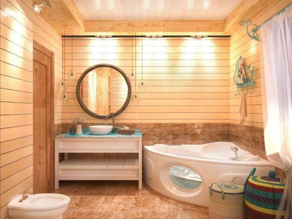 угловая ванна в деревянном доме