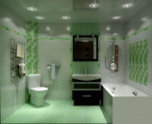 интерьер с натяжным потолком в маленькой ванной комнате