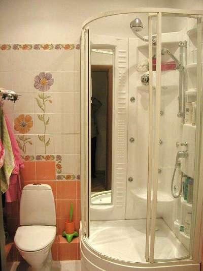 душевой бокс в ванной с туалетом