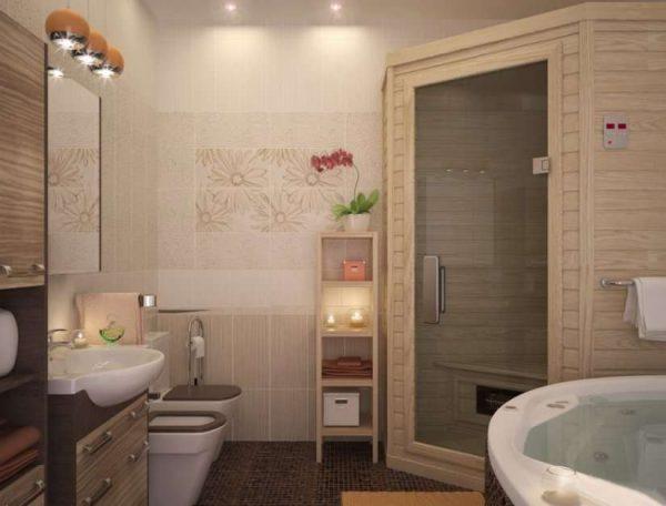 интерьер ванной комнаты с плиткой на стенах