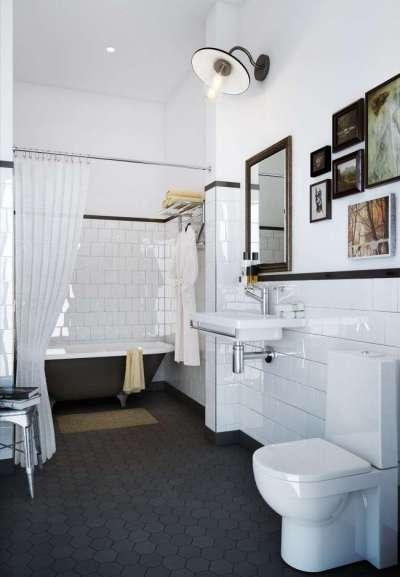 чёрно-белый интерьер ванной комнаты с туалетом