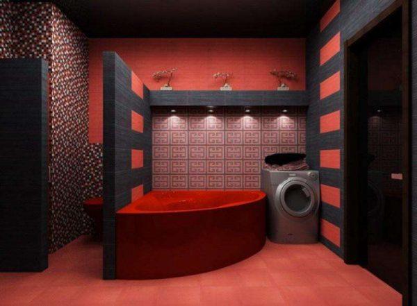 красно чёрный интерьер ванной с туалетом