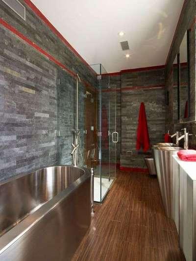 натуральный камень в интерьере ванной комнаты с туалетом