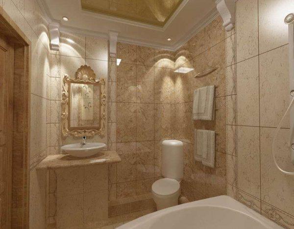 плитка из мрамора в интерьере ванной комнаты с туалетом в классическом стиле