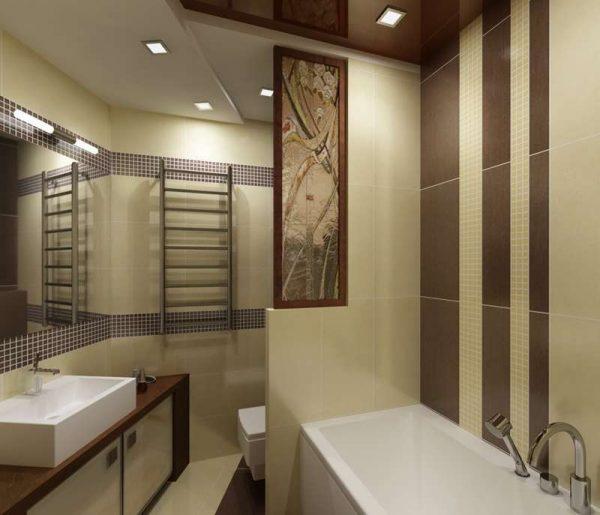 коричнево-бежевый интерьер ванной с туалетом