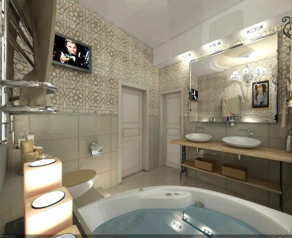 телевизор в ванной с туалетом