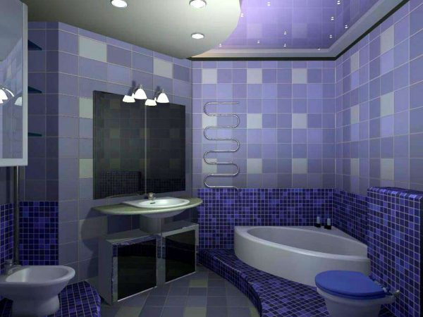 интерьер фиолетовой ванной с туалетом