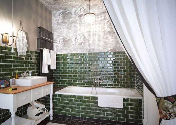 классический стиль с прямоугольной ванной