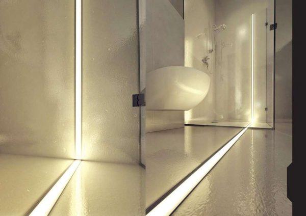 светодиодная лента на стенах и полу в ванной