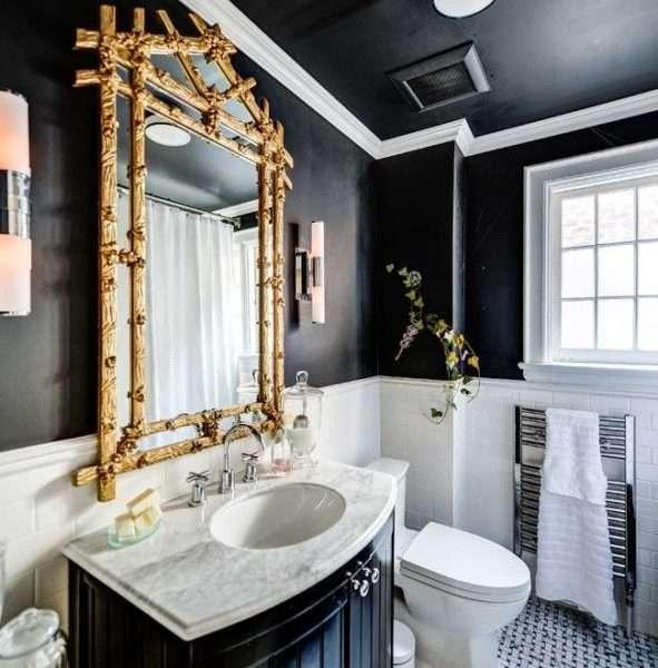 дизайн ванной с фигурным зеркалом