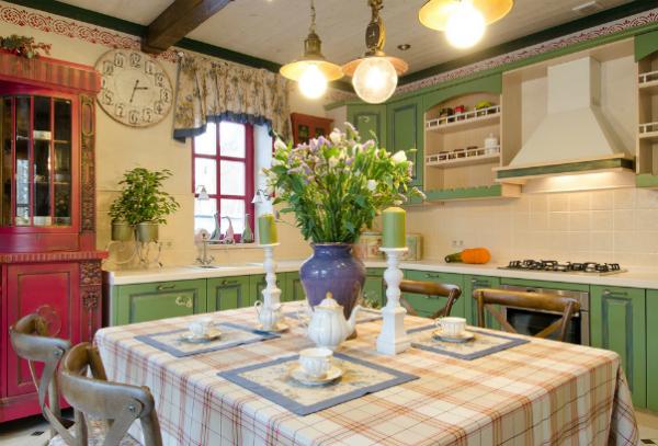 стиль прованс на кухне частного дома