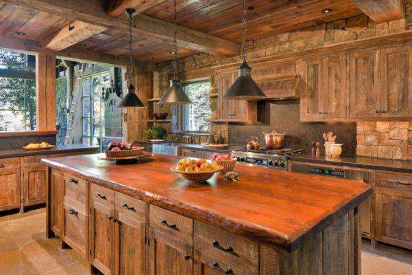 деревянная кухня шале