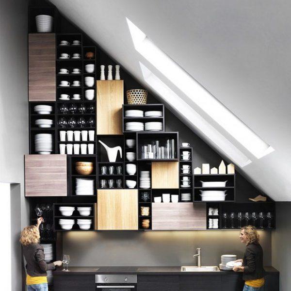 шкаф для посуды с открытыми полками