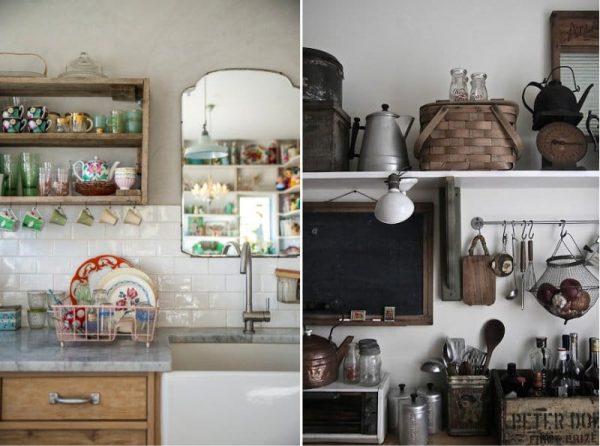 декор на полках кухни в деревенском стиле