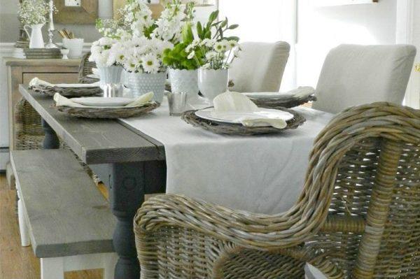 плетённая мебель на кухне в деревенском стиле