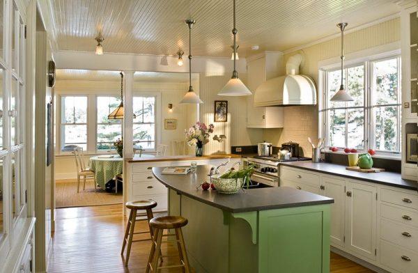 белый и зелёный на кухне в стиле кантри