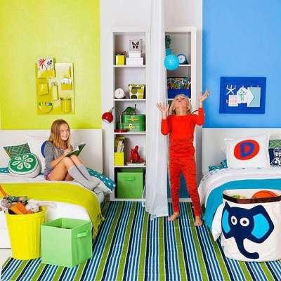 зонирование детской комнаты по цветам на стенах