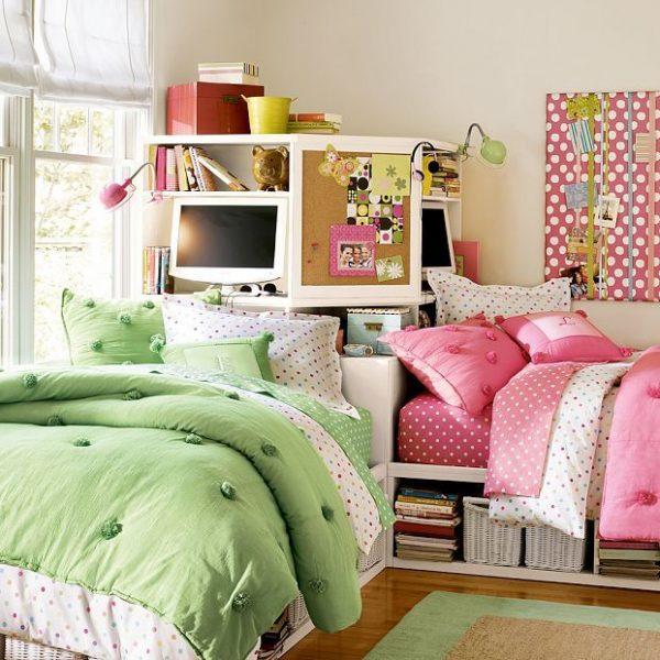 кровати перпендикулярно друг другу в детской для двоих