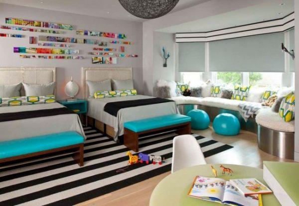 спальная зона в детской для двоих