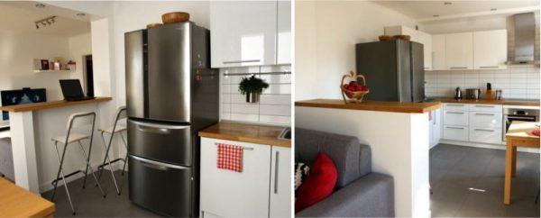барная стойка великолепно справляется с зонированием кухни гостиной