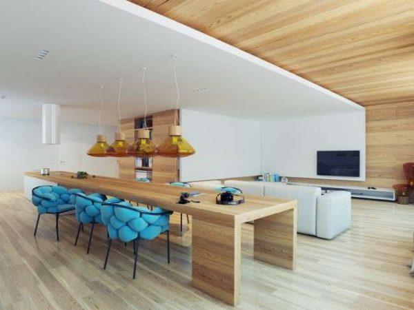 кухня совмещённая с гостиной в частном доме