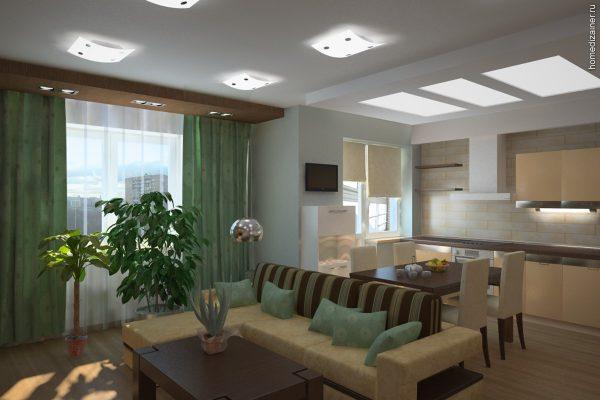 интерьер кухни совмещённой с гостиной и двумя окнами