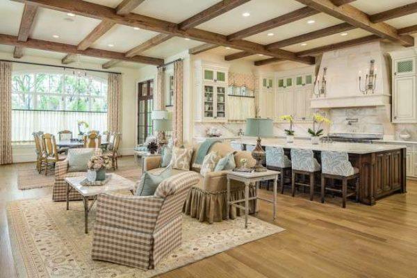 кухня совмещённая с гостиной в стиле прованс