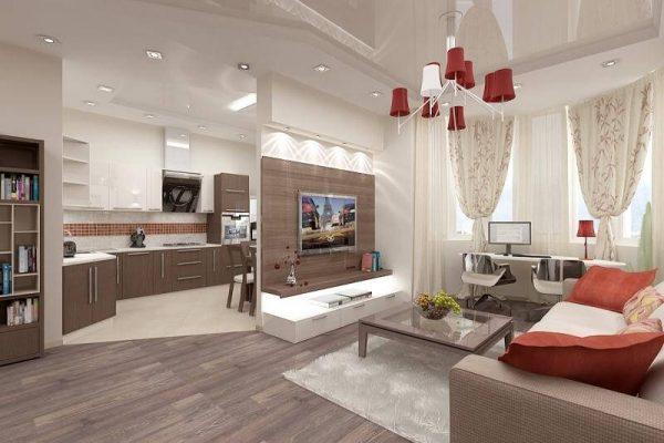 декоративная перегородка в гостиной совмещённой с кухней