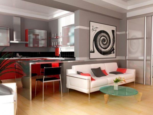 линейный диван в интерьере кухни совмещённой с гостиной