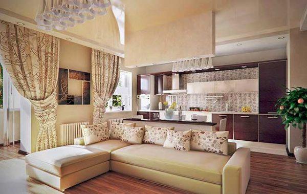 шторы в гостиной с кухней