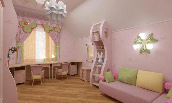 детская комната с розовым интерьером