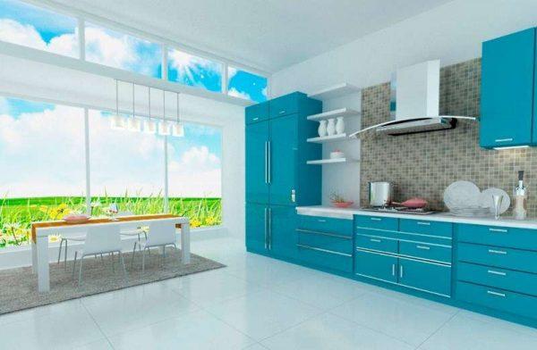 бирюзовый гарнитур на кухне