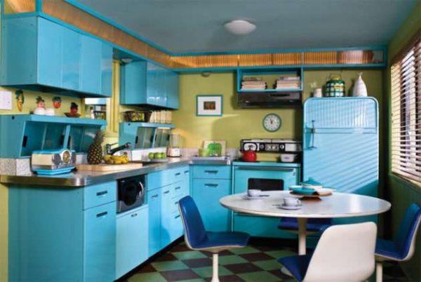 бирюзовая кухня в стиле ретро