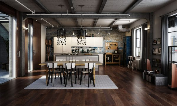 интерьер кухни лофт
