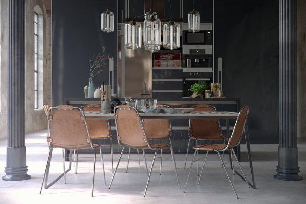 освещение обеденной зоны на кухне в стиле лофт