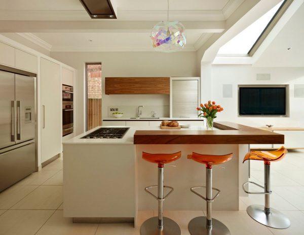 угловая барная стойка на кухне