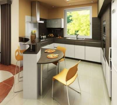 кухня студия с барной стойкой и столом