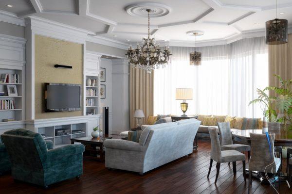 люстра над диваном в гостиной
