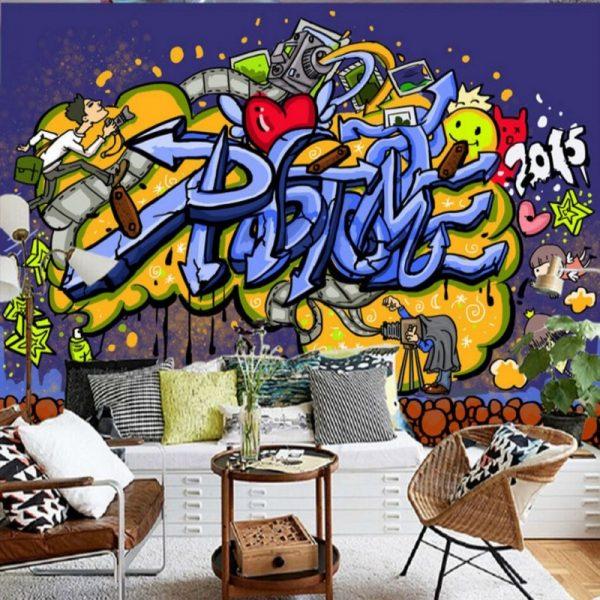 кухня студия в стиле модерн с граффити