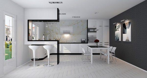 чёрно бела кухня студия хай тек