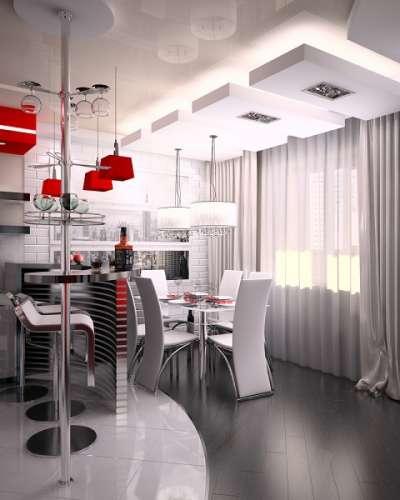 яркий светильник на кухне студии
