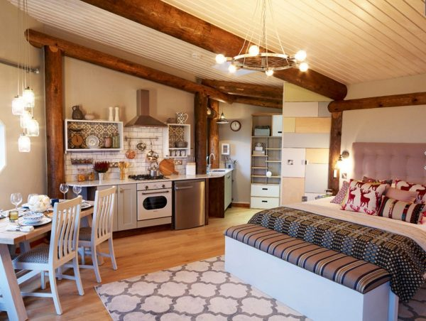 спальня на кухне студии