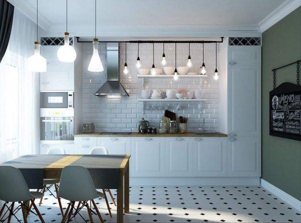 освещение в скандинавском стиле на кухне