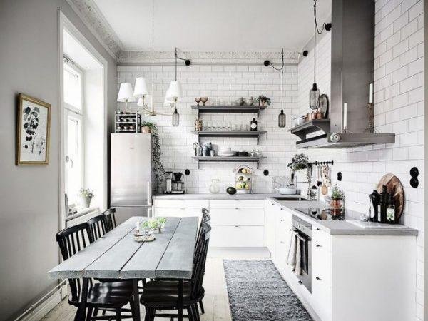 белая плитка на кухне в скандинавском стиле