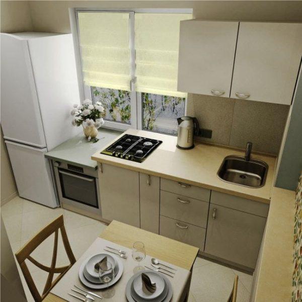 подоконник на маленькой кухне можно использовать вместо столешницы