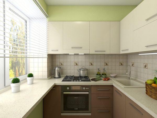 интерьер маленькой кухни в хрущевке с окрашенными стенами