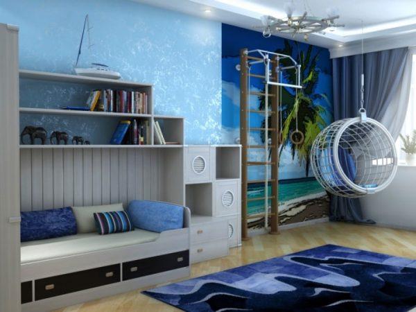 подвесное кресло для детской комнаты мальчика в морском стиле