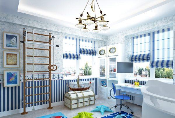 римские шторы для детской комнаты мальчика в морском стиле