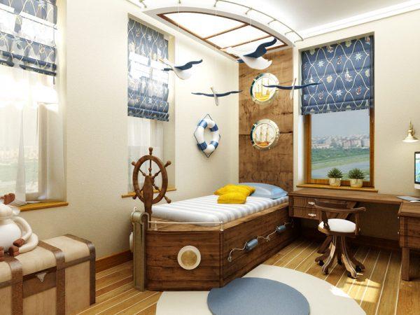 кровать корабль и чайки в детской