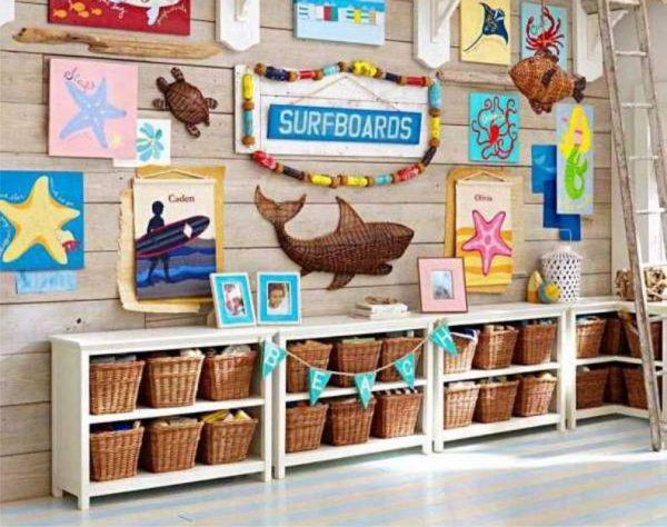 рисунки и декор для детской в морском стиле